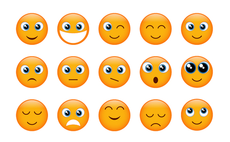 Set of yellow emojis isolated on white background. Vector illustration.