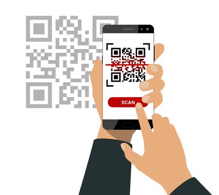 La mano sostiene un teléfono inteligente y presione un botón para escanear el código qr aislado sobre fondo blanco. Ilustración de vector. Ilustración de vector