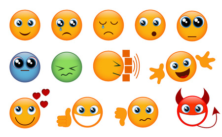 Set of yellow emojis isolated on white background. Vector illustration.