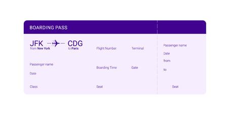 Violet boarding pass