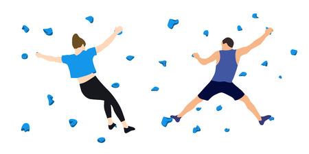 Mężczyzna i kobieta wspinaczy na ścianie w siłowni wspinaczkowej na białym tle. Ilustracja wektorowa.