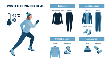 Woman runs in cold weather and set of clothes for running in cold weather isolated on a white background. Vector illustration.
