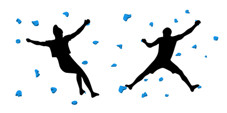 Black silhouettes of climbers who climb on a wall in a climbing gym isolated on a white background. Vector illustration. 矢量图像