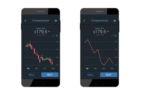 Trading mobile interface for stock exchange. Dark flat design. Vector illustration
