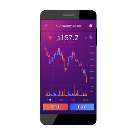 Trading mobile interface for stock exchange. Candlestick chart. Uptrend. Modern violet design. Vector illustration