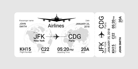 White boarding pass isolated on a gray background. Vector illustration.