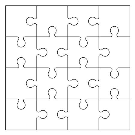 Conjunto de piezas de un rompecabezas en blanco y negro aislado sobre fondo blanco. Ilustración vectorial Ilustración de vector