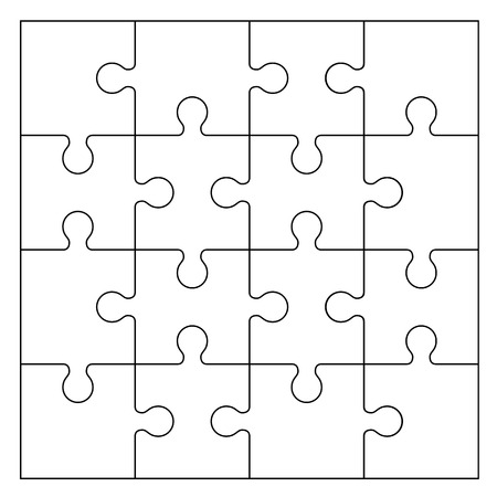 Set of black and white puzzle pieces isolated on white background. Vector illustration Vector Illustration