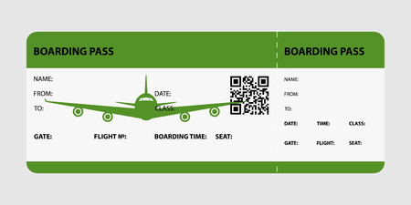Green boarding pass isolated on a gray background. Vector illustration. Illustration