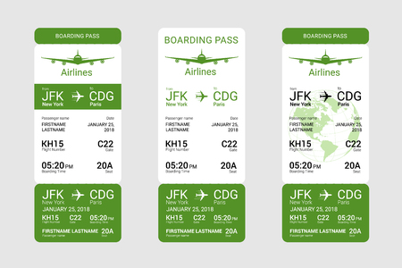 Three different boarding passes