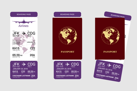 International red passport and vertical boarding pass. Vector illustration. Ilustrace