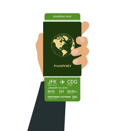 Hand holds a passport