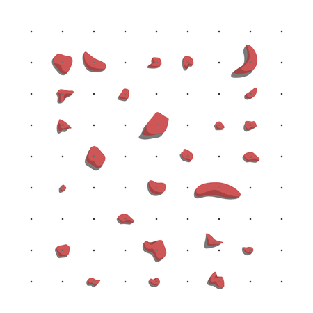 Red holds for rock climbing on a wall in the gym. Flat style vector illustration. 向量圖像