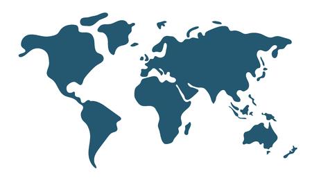 Mappa del mondo semplice in stile piano isolato su priorità bassa bianca. Illustrazione vettoriale.