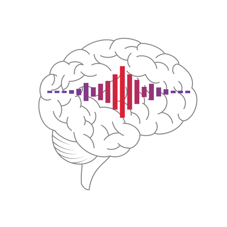 Brain vector with sound wave icon isolated on a white background.