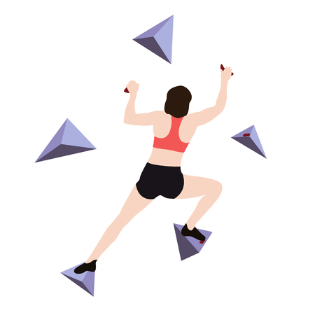 Woman climbs climbing wall