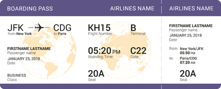 Violet boarding pass isolated on a white background. Vector illustration. Stock Illustratie