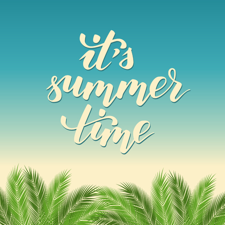 beach summer template for flyer or poster with lettering brush calligraphy it is summer time. vector illustration