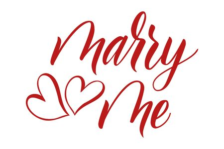 Brush calligraphy marry me on white