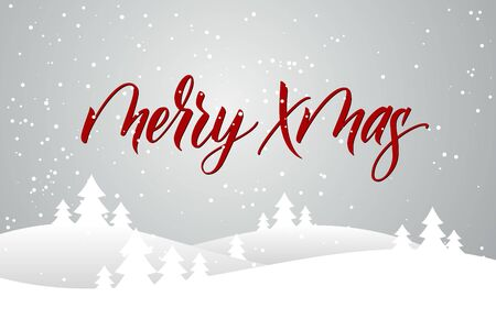Christmas card with calligraphy Merry Xmas