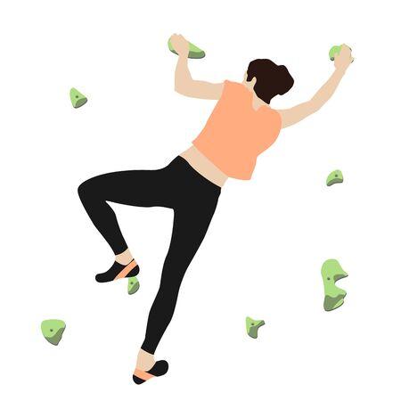 Woman climbs climbing wall 向量圖像