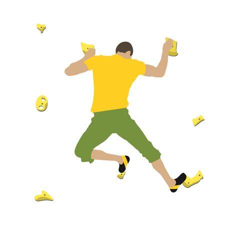 Man climbs climbing wall Illustration