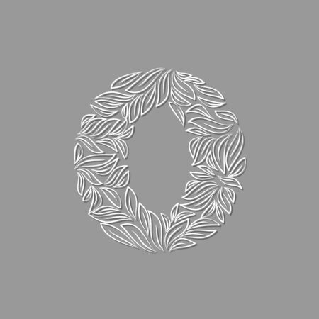 Ornamental paper letter O on gray