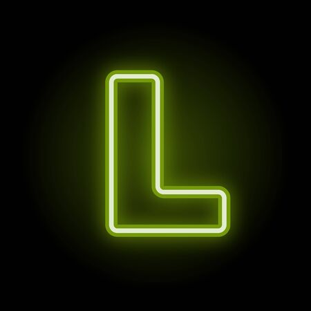 Green neon letter L with glow on black background. Blur effect is made with mesh. Vector illustration