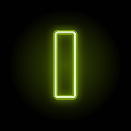 Green neon letter I with glow on black background. Blur effect is made with mesh. Vector illustration Çizim