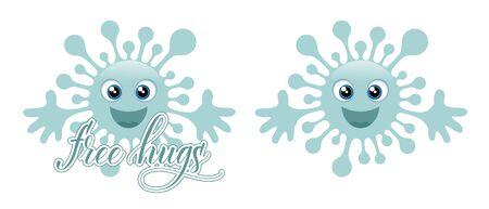 Two blue coronavirus emojis and message Free Hugs isolated on white background. Vector illustration.