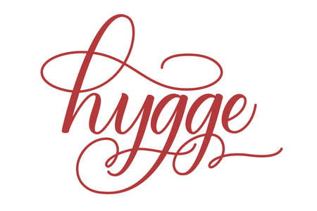 Handwritten brush calligraphy Hygge isolated on white. Vector illustration. 版權商用圖片 - 155856558