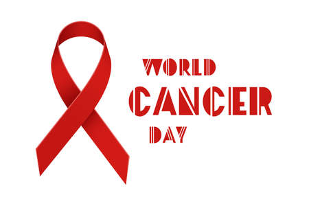 Red ribbon as symbol of world cancer day Illustration