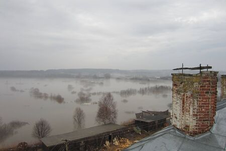 marge: The river overflowed and flooded in spring surrounding meadows near the monastery Stock Photo