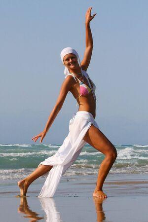 Pretty blonde woman enjoying the Ionian sea in Greece Stock Photo - 3661775