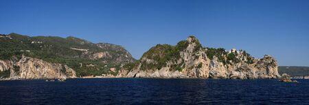 Monastery of Paleokastritsa on corfu island Greece photo