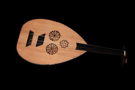 mandolin isolated on black background photo