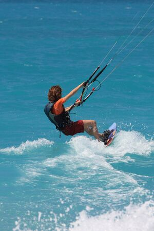 towed: kite boarder  on  the Ionian island of Lefkas in Greece Stock Photo