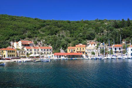Harbor of Fiskardo on the Ionian island of Lefkas Greece photo