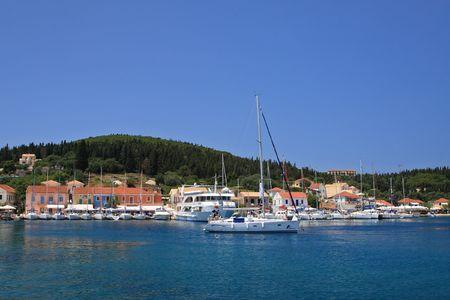 fishingnet: The harbour at Fiskardo on the greek island of Kefallonia Stock Photo