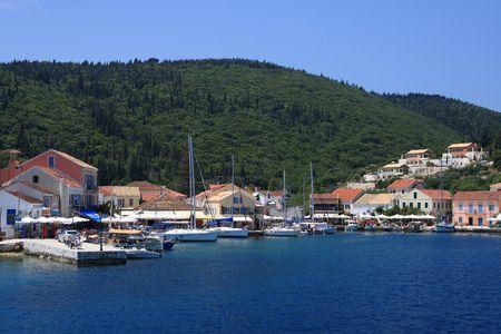 The harbour at Fiskardo on the greek island of Kefalonia photo