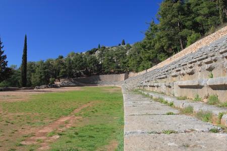 athenians: Ruins of the stadium in Delphi Greece