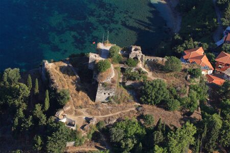 Aerial view on the venetian castle of Parga Greece photo