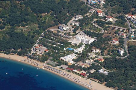 Aerial view on lichnos beach in Parga Greece photo