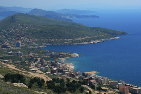 Overview on the city of Saranda in Albania Stock Photo