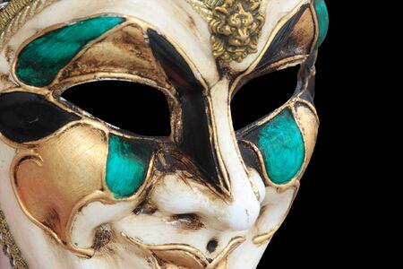 carnivale: Carnival Mask from Venice Italy isolated on black Stock Photo