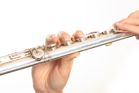 portait: Portait of a flautist isolated on white background Stock Photo