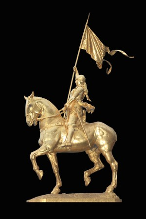 Statue of Saint Joan of Arc in Paris, France, known as the Maid of Orleans Isolated on black