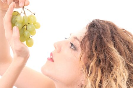 Beautiful young woman with green grape Stock Photo - 4480061