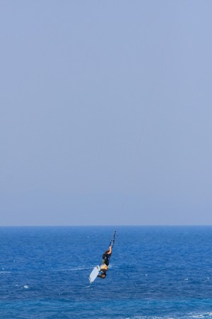 towed: kite boarder on the Ionian island of Lefkas in Greece
