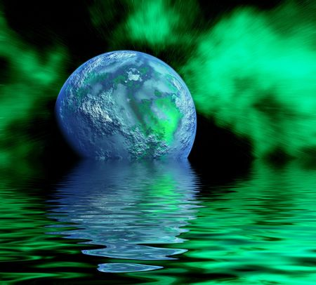 planet and his reflection in water photo